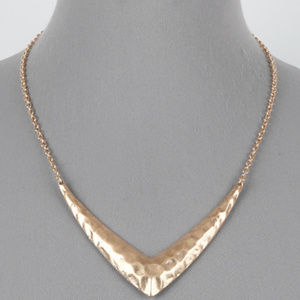 Jewelry - Gold Tone Hammered V Shape Pendant Necklace